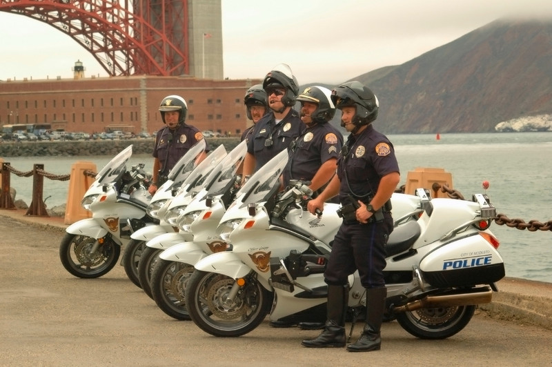 Keeping the peace.....police officers on location at the San Francisco Golden Gate Bridge park.