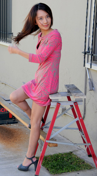 beautiful woman model red dress 144,