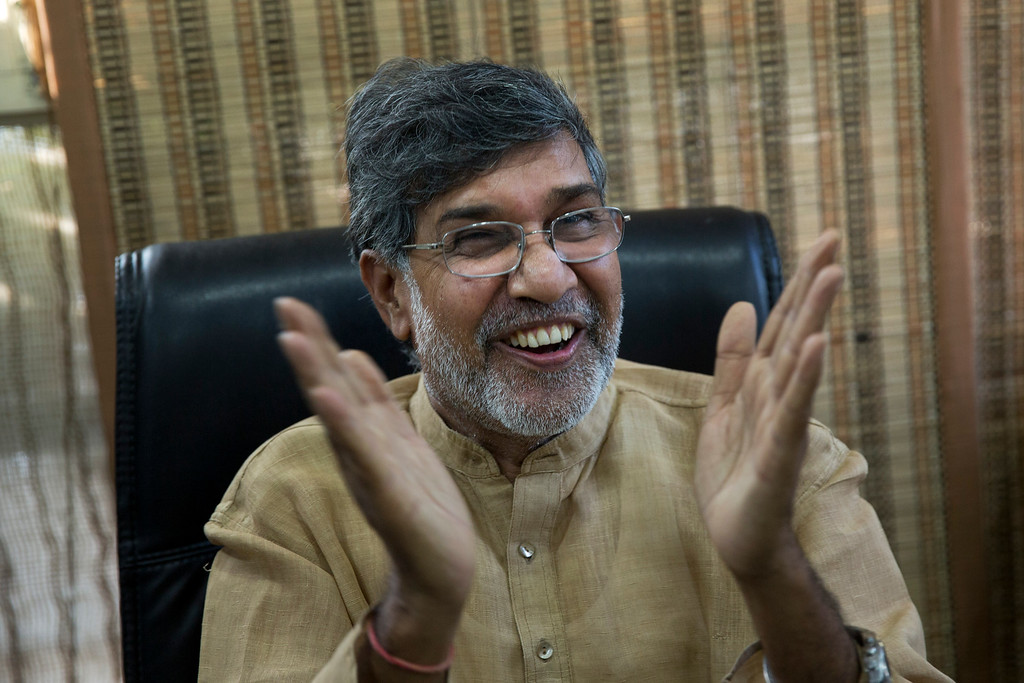 . Indian children\'s rights activist Kailash Satyarthi gestures as he addresses the media at his office in New Delhi, India, Friday, Oct. 10, 2014. Malala Yousafzai of Pakistan and Satyarthi of India jointly won the Nobel Peace Prize on Friday, Oct. 10, 2014, for risking their lives to fight for children\'s rights. (AP Photo/Bernat Armangue)