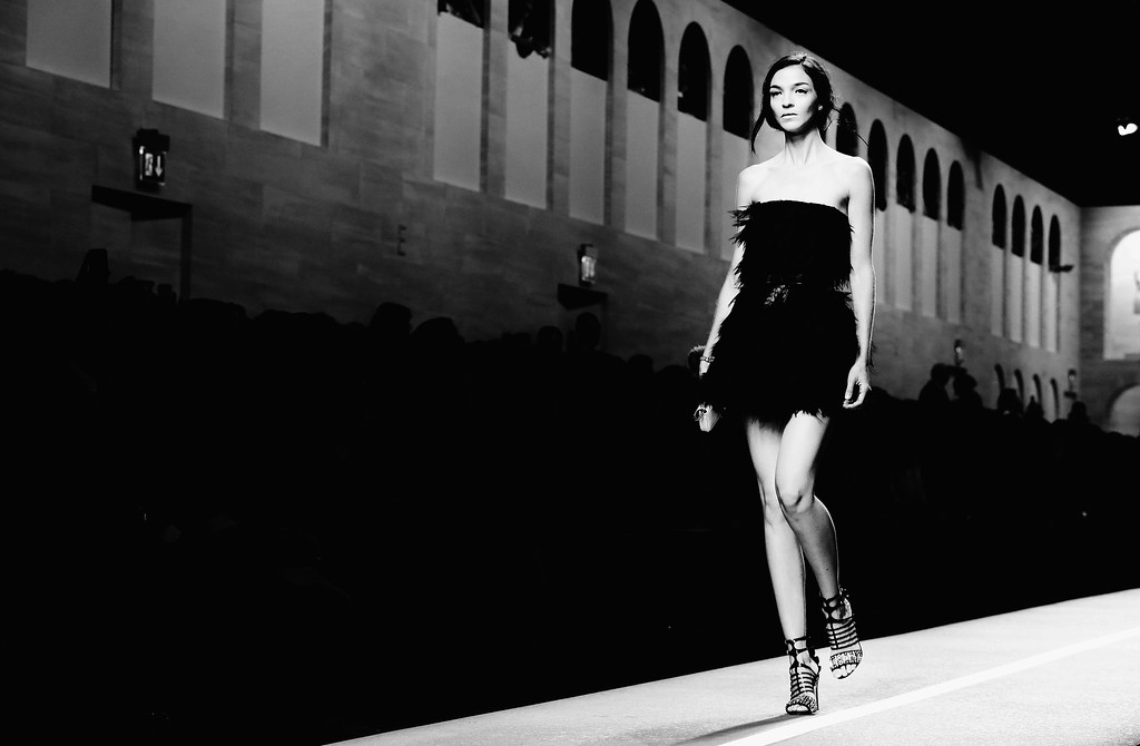 . (EDITORS NOTE: Image has been converted to black and white.) Mariacarla Boscono walks the runway during the Fend show as a part of Milan Fashion Week Womenswear Spring/Summer 2015 on September 18, 2014 in Milan, Italy.   (Photo by Vittorio Zunino Celotto/Getty Images)