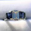 2.83ctw Vintage Emerald Diamond and Sapphire Trilogy Ring 14
