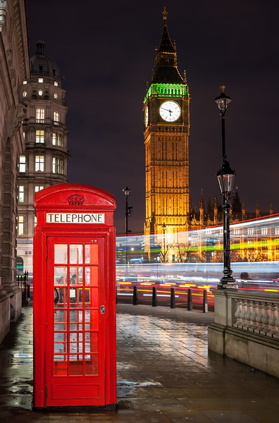 London Telephone Box with Big Ben