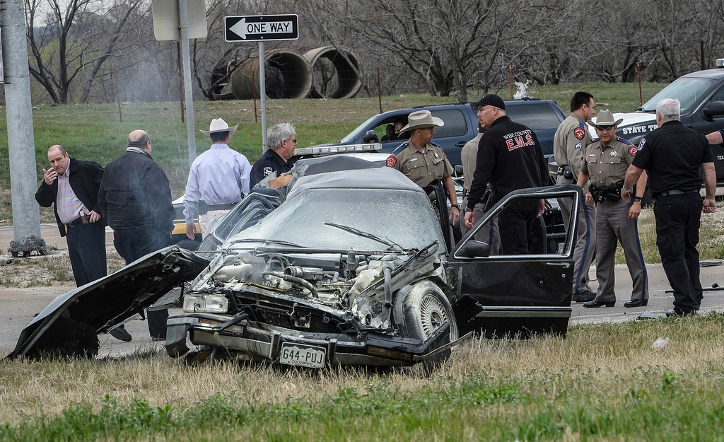 . A high speed pursuit that started with a deputy getting shot in Montague County ended with law enforcement and the suspect exchanging gunfire at a busy highway intersection in Decatur, Thursday, March 21, 2013. (Wise County Messenger/Joe Duty)