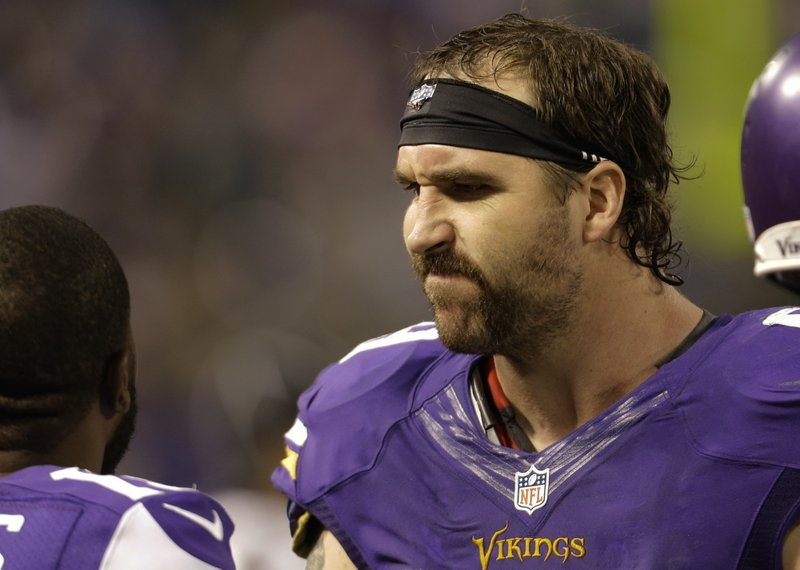 ". <p>5. JARED ALLEN <p>�Proud to still be a Viking,� he tweeted ... before dissolving into a puddle of sadness. (1) <p><b><a href=\'http://msn.foxsports.com/nfl/story/jared-allen-proud-to-still-be-on-minnesota-vikings-after-trade-deadline-102913\' target=""_blank\""> HUH?</a></b> <p>    (AP Photo/Ann Heisenfelt)"