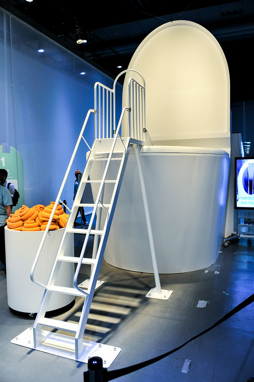 ". TOKYO, JAPAN - JULY 01:  A giant toilet model is displayed during the ""Toilet!? Human Waste and Earth\'s Future\"" exhibition at The National Museum of Emerging Science and Innovation - Miraikan on July 1, 2014 in Tokyo, Japan. The exhibition focuses on how the toilet has changed our daily lives and discovers what the most environment-friendly and ideal toilet is.  (Photo by Keith Tsuji/Getty Images)"