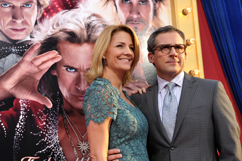 ". Actors Nancy Walls, left, and Steve Carell arrive at the LA premiere of ""The Incredible Burt Wonderstone\"" at the TCL Chinese Theatre on Monday, March 11, 2013, in Los Angeles. (Photo by John Shearer/Invision/AP)"