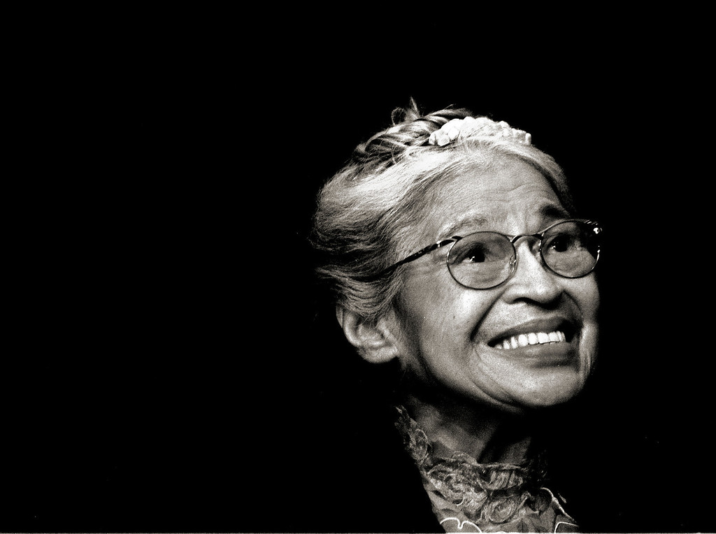 . In this Nov. 28, 1999 file photo, Rosa Parks smiles during a ceremony where she received the Congressional Medal of Freedom in Detroit. Parks, who lives in Detroit, is known for inspiring the modern civil rights movement by refusing to give up her bus seat to boarding whites, sparking the 1955 Montgomery bus boycott.  (AP Photo/Paul Sancya, File)