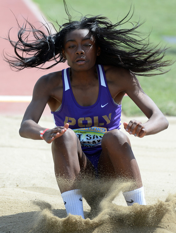 . Long Beach Poly\'s Zhane Smith competes in the long jump Invitational during the Mt. SAC Relays in Hilmer Lodge Stadium on the campus of Mt. San Antonio College in Walnut, Calif., on Saturday, April 19, 2014.  (Keith Birmingham Pasadena Star-News)