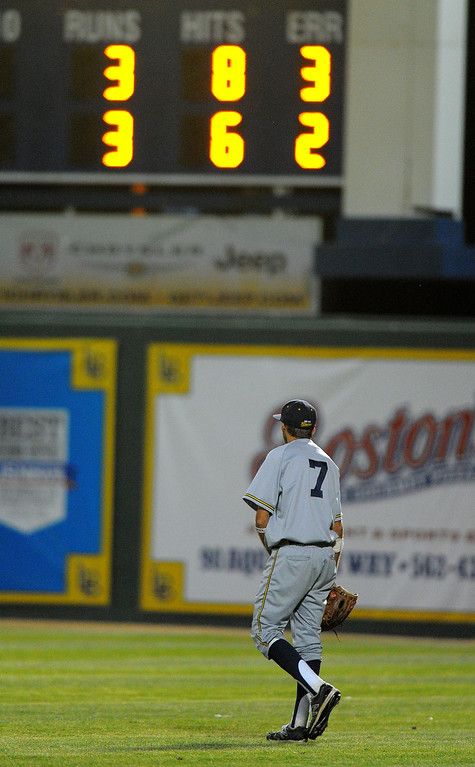 . LONG BEACH - 05/01/13 - (Photo: Scott Varley, Los Angeles Newspaper Group)  Lakewood vs Millikan baseball at Blair Field. Millikan right fielder Cody Heath looks up at the scoreboard in the bottom of the 7th after committing an error and allowing the eventual winning runner to reach base safely.