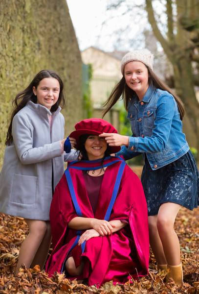 02/11/2017. Waterford Institute of Technology Conferring. Pictured is Sinead Mellett from Ennis Co. Clare who was conferred a PhD, also pictured are her daughters Sarah and Orianna.  Picture: Patrick Browne.