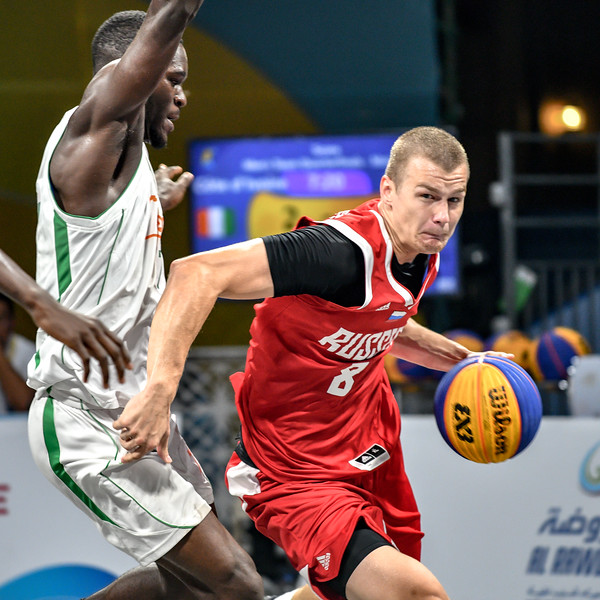 Russia and Cote D'Ivoire in action in the quarter finals of the International 3x3 Basketball Tournament during the 1st ANOC World Beach Games at Katara on October 16, 2019 in Doha, Qatar. Photo by Tom Kirkwood/SportDXB