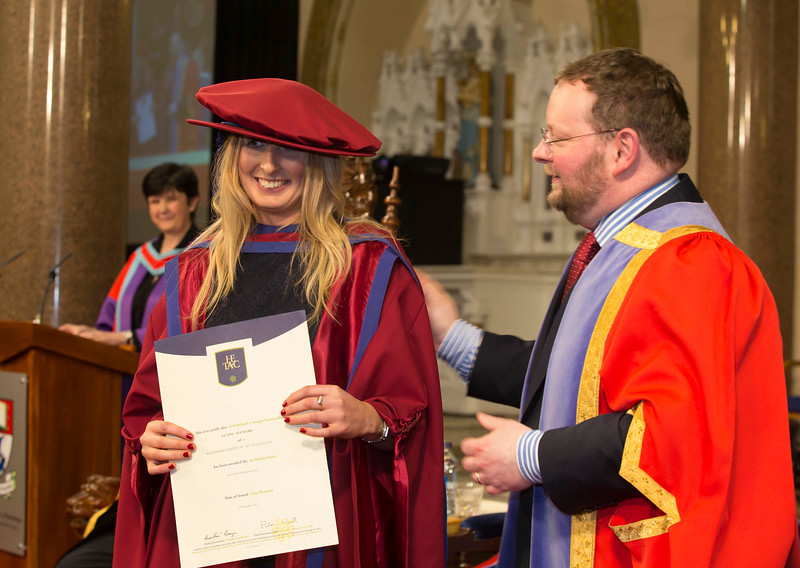 Pictured are Elaine Alyward, Kilkenny, who was conferred a Doctor of Philosophy from Dr. Derek O'Byrne, Registrar of Waterford Institute of Technology (WIT). Picture: Patrick Browne