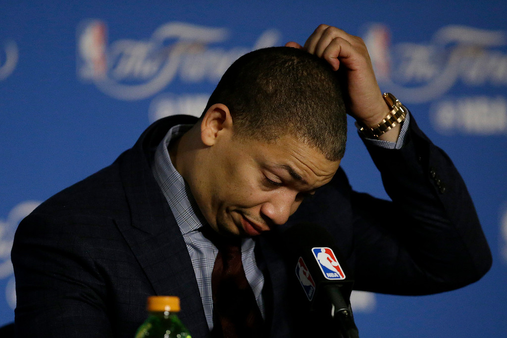 . Cleveland Cavaliers head coach Tyronn Lue gestures at a news conference after Game 5 of basketball\'s NBA Finals between the Golden State Warriors and the Cavaliers in Oakland, Calif., Monday, June 12, 2017. The Warriors won 129-120 to win the NBA championship. (AP Photo/Ben Margot)