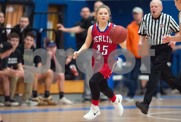 02/20/18 Wesley Bunnell   Staff Berlin girls basketball was defeated 80-50 by Enfield at Glastonbury High School on Tuesday night during the CCC tournament. Carly Grega (15).