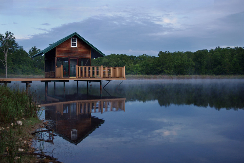 Charles and Sachiko's cabin on their lake near Mountain View, Missouri.