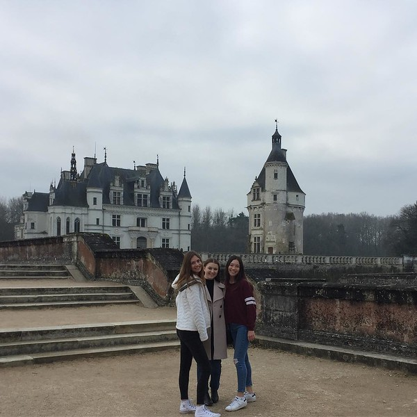 """The winter garden of  Chenonceau; despite the weather being the """"coldest you've ever felt"""", the chateau will remain a warm memory. #dianedepoitier #catherinedimedici #henri2 #chateauxlyfe #hackysackinfrance #pinkhyacinths #lookbackescaliers"""