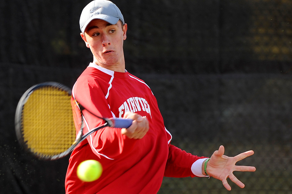 . DENVER, CO. - OCT 12:   Fairview\'s Max Petrak returns the ball during his #1 doubles match against Cherry Creek opponents.   (Photo By Erin Hull/The Denver Post)