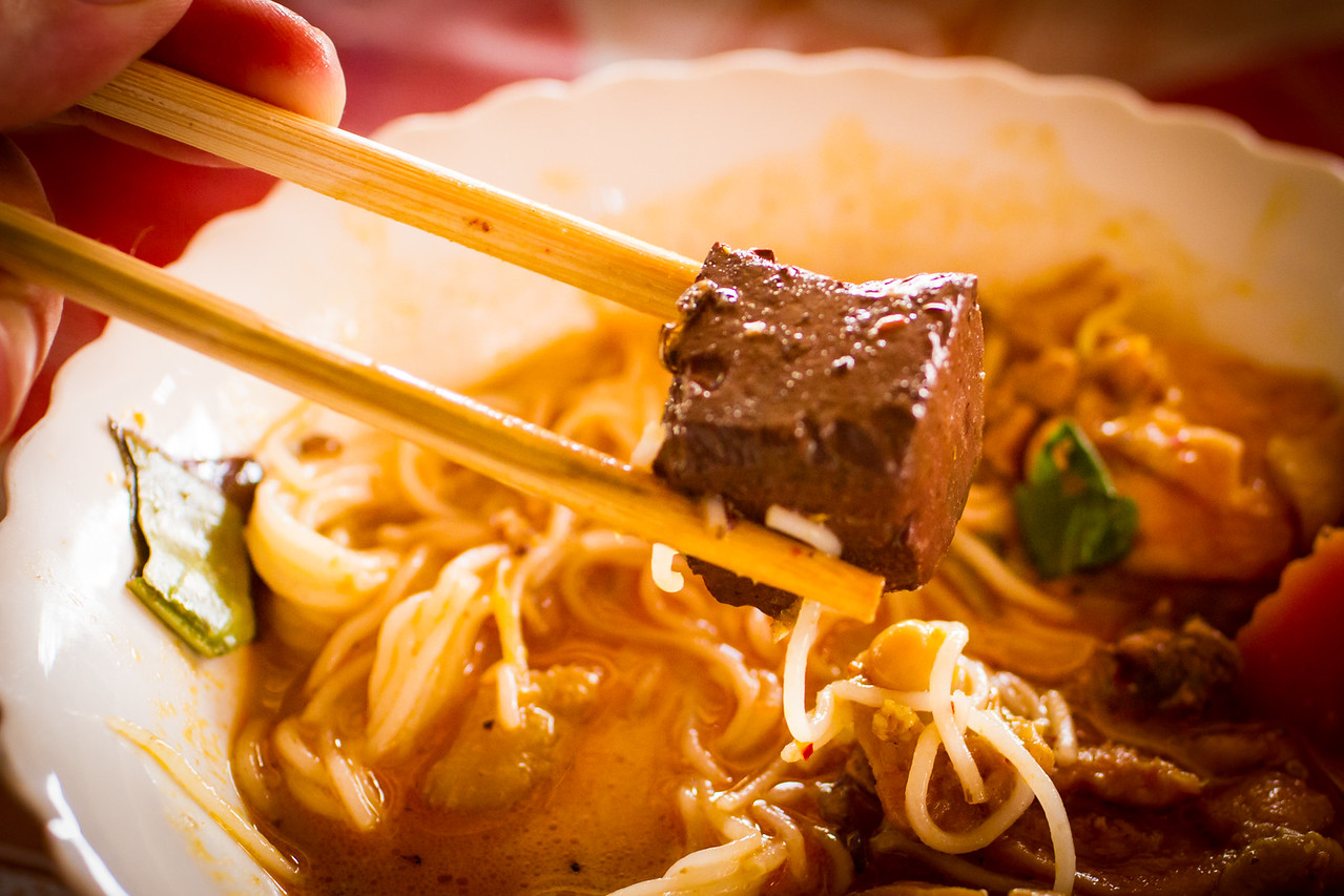 Cambodian Rice Noodle Soup with Blood Tofu