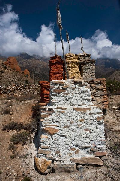 Chorten marking exit/entrance to Gurung Village in Gyakar. Mustang, Nepal.