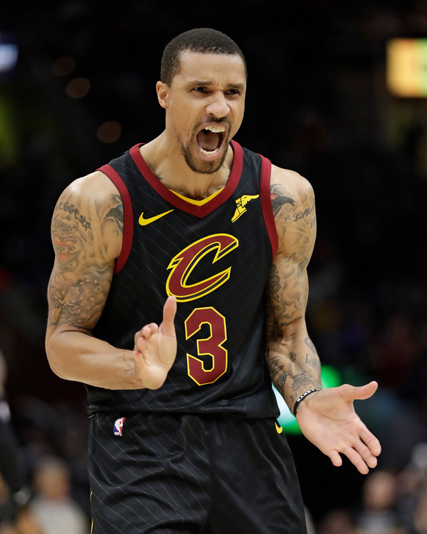 . Cleveland Cavaliers\' George Hill reacts in the second half of Game 7 of an NBA basketball first-round playoff series against the Indiana Pacers, Sunday, April 29, 2018, in Cleveland. The Cavaliers won 105-101.(AP Photo/Tony Dejak)