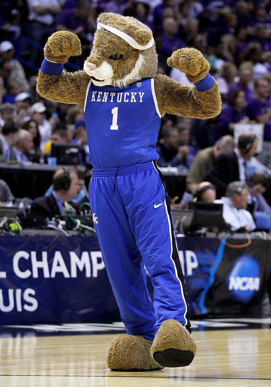 . The Kentucky Wildcats mascot performs during the second round of the 2014 NCAA Men\'s Basketball Tournament against the Kansas State Wildcats at the Scottrade Center on March 21, 2014 in St Louis, Missouri.  (Photo by Andy Lyons/Getty Images)