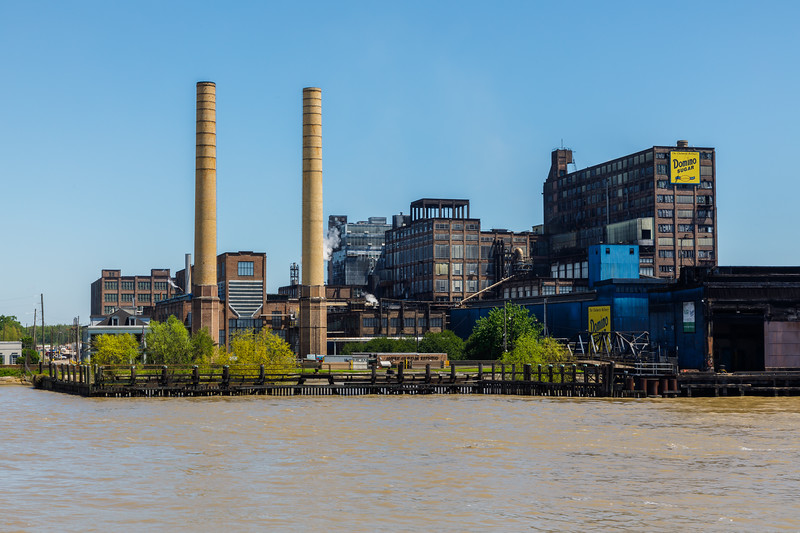 Domino Sugar Plant as seen from the Mississippi River near New Orleans