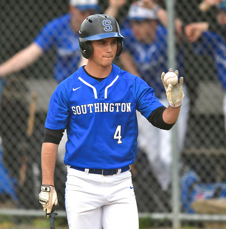 4/25/2019 Mike Orazzi | Staff Southington's Andrew Paradis (4) during Thursday's baseball game with New Britain at Bee Hive Stadium in New Britain.