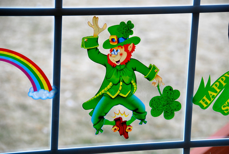 2011/3/16 – Lisa likes to put up her seasonal decorations, even a minor holiday like St. Patrick's Day.