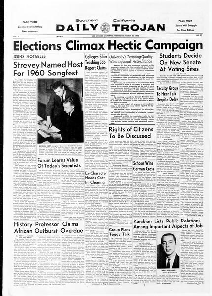 Daily Trojan, Vol. 51, No. 97, March 30, 1960