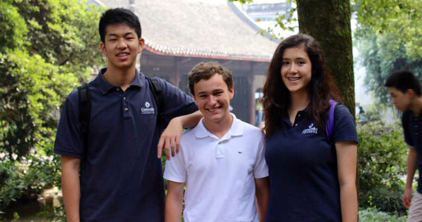 Two Concordia International School Shanghai students (far left and far right) with Jared Hirschfield (middle), a winner of the Leadership and Legacy in Modern China history contest winner.