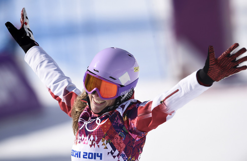 . Canada\'s Ariane Lavigne reacts after competing in the Women\'s Snowboard Parallel Giant Slalom 1/8 Finals at the Rosa Khutor Extreme Park during the Sochi Winter Olympics on February 19, 2014. FRANCK FIFE/AFP/Getty Images