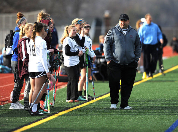 4/11/2018 Mike Orazzi | Staff Bristol Co-op lacrosse's coach Kyle Phelan at Bristol Central Wednesday.