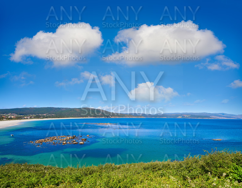 Aerial view of Finisterre langosteira beach in Galicia