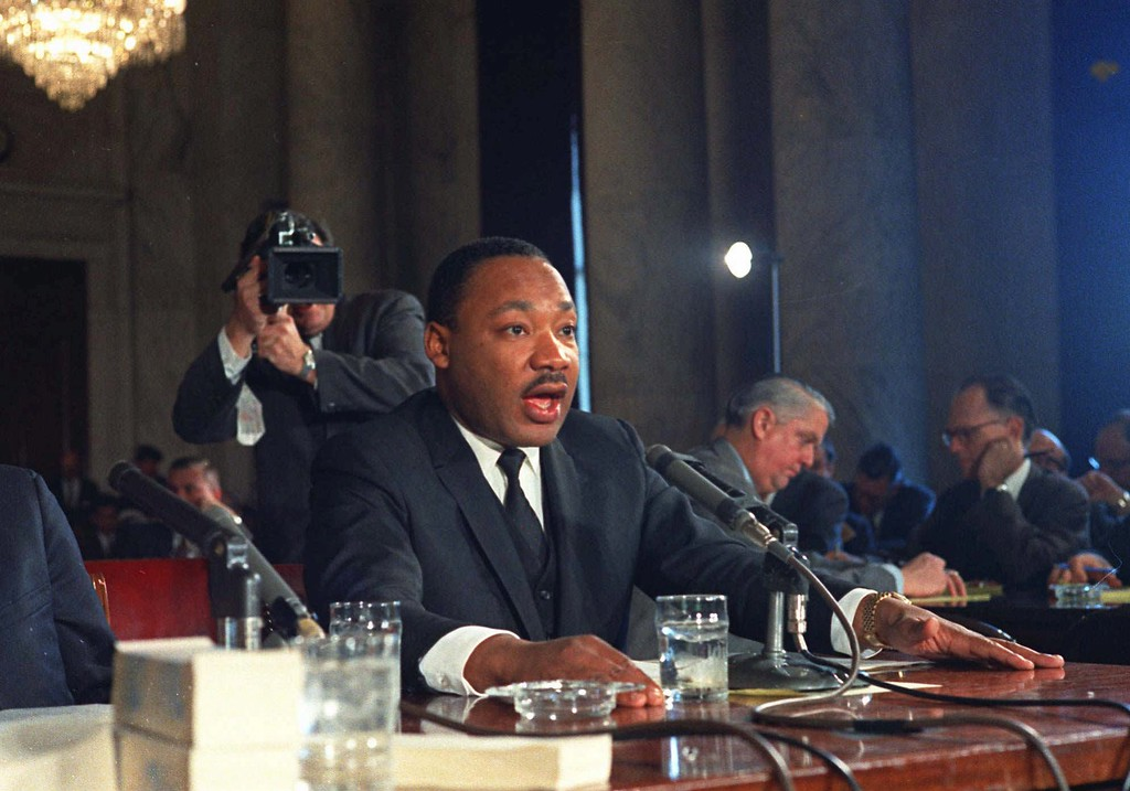 . Civil Rights leader Dr. Martin Luther King Jr. testifies before the Senate Government Operations subcommittee in Washington Dec. 15, 1966. (AP Photo)
