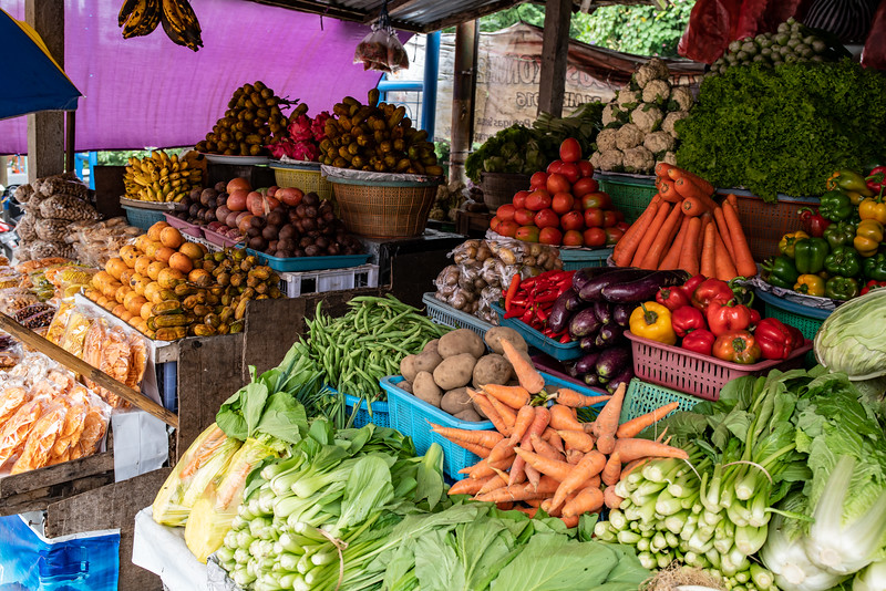 Vibrant Fresh fruit and vegetable stall at the Tabanan village market in Bali