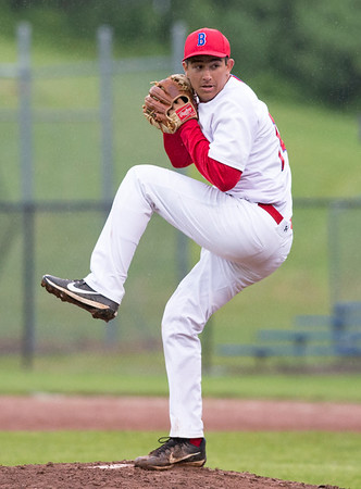 05/28/19 Wesley Bunnell | Staff Berlin baseball vs Weston in a Class L playoff game which was suspended due to rain after 5 1/3 innings with Berlin up 7-5. The game is scheduled to begin play again tomorrow at 4pm. Starting pitcher Adam Bilinsky (14).