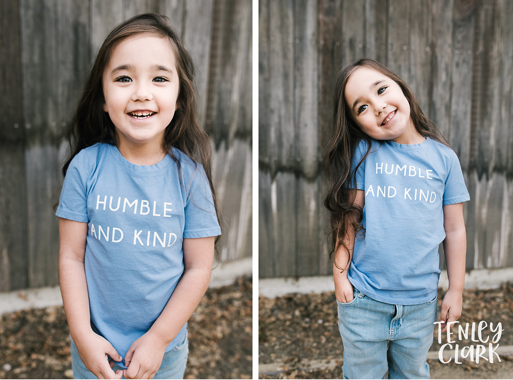 Humble & Kind Tee. Playful kids fashion commercial brand shoot  for B+C California a kids t-shirt company in Bay Area by Tenley Clark Photography.