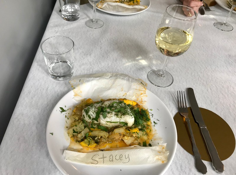 Cod in papillote with squash and fennel