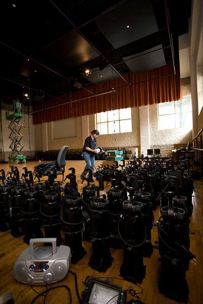 Anne Taylor and some of the lights to be installed.