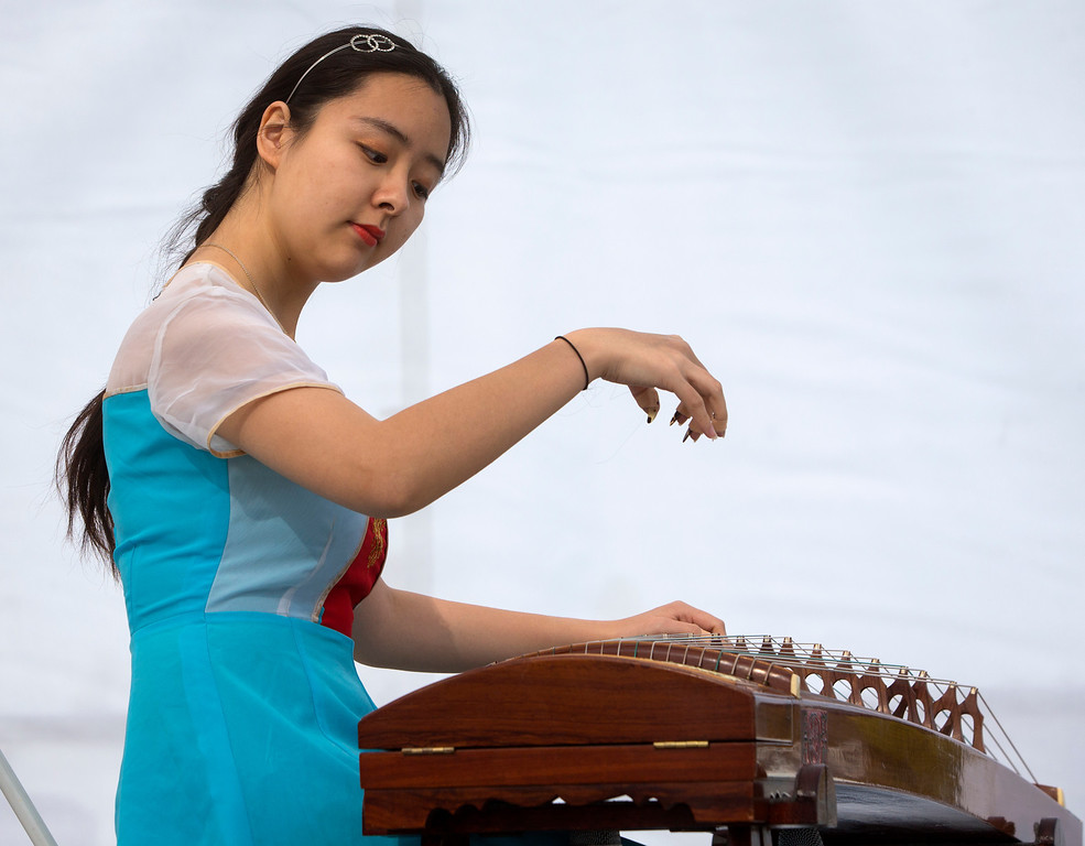 . Sharleen Yan, 21, plays the zither as she performs at the Lunar New Year Festival.