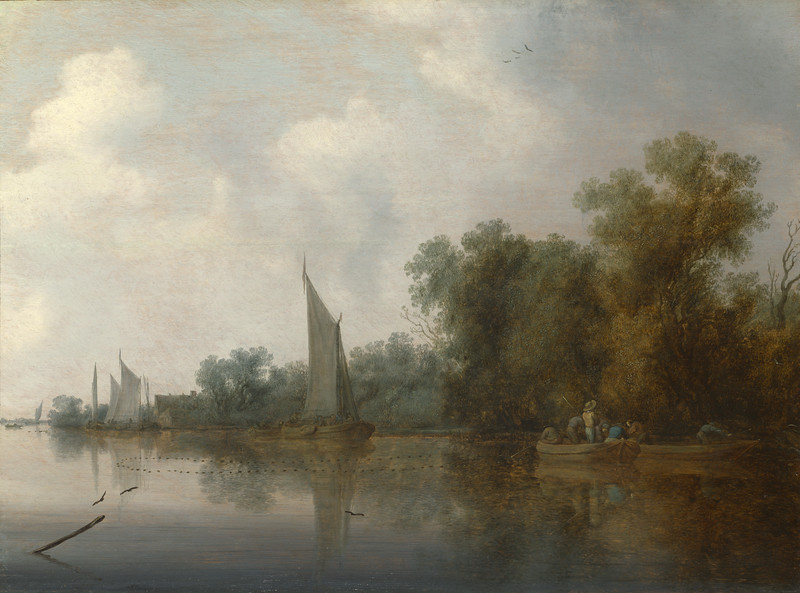 A River with Fishermen drawing a Net