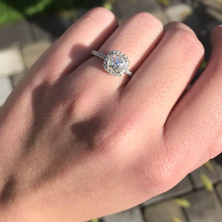 1.13ct Old Mine Cut Halo Ring, GIA M SI1