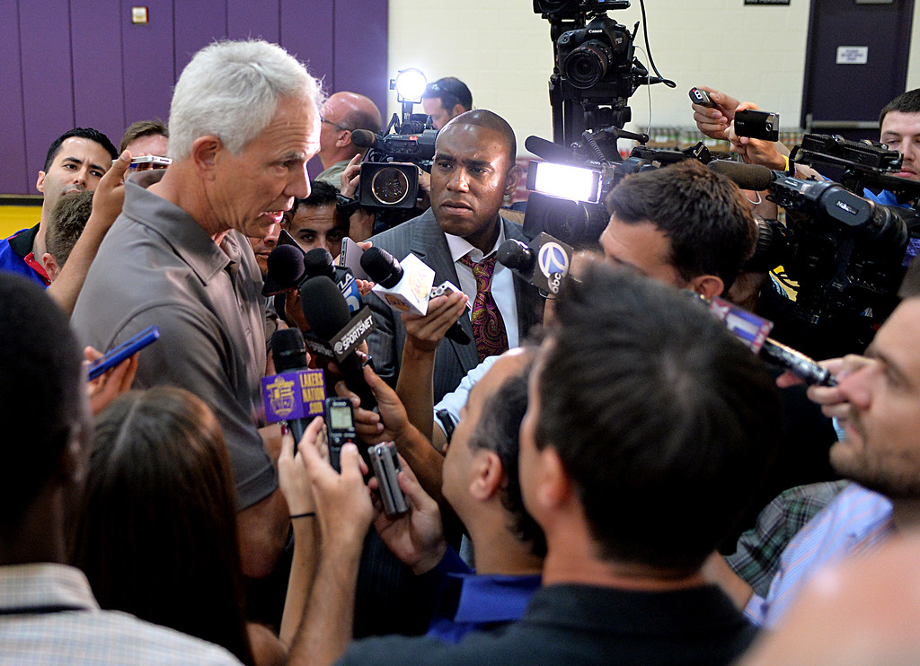 . Lakers pre-draft workout at Toyota Sports Center Wednesday June 4, 2014. Lakers GM Mitch Kupchak answers questions.      Photo By  Robert Casillas / Daily Breeze