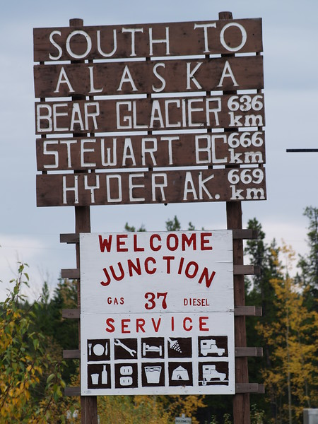 The junction of the Alaska and Cassier Highways in British Columbia - the Cassier was closed.