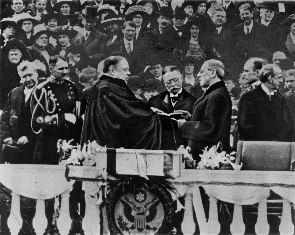 . In this March 4, 1913 file photo, Woodrow Wilson takes the oath of office for his first term of the Presidency in Washington.  (AP Photo/File)