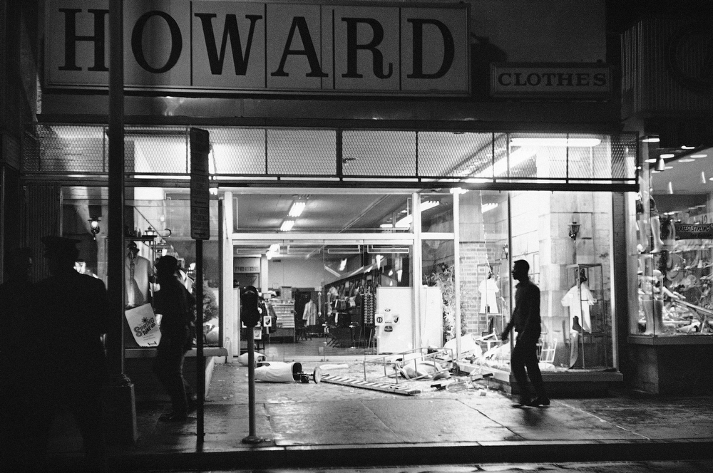 . Glass and mannequins litter sidewalk at this clothing store in Northwest Washington, April 4, 1968 after crowds in the predominantly black neighborhood broke into and looted some stores. Crowds gathered following news that Dr. Martin Luther King Jr. had been slain. (AP Photo/Charles Harrity)