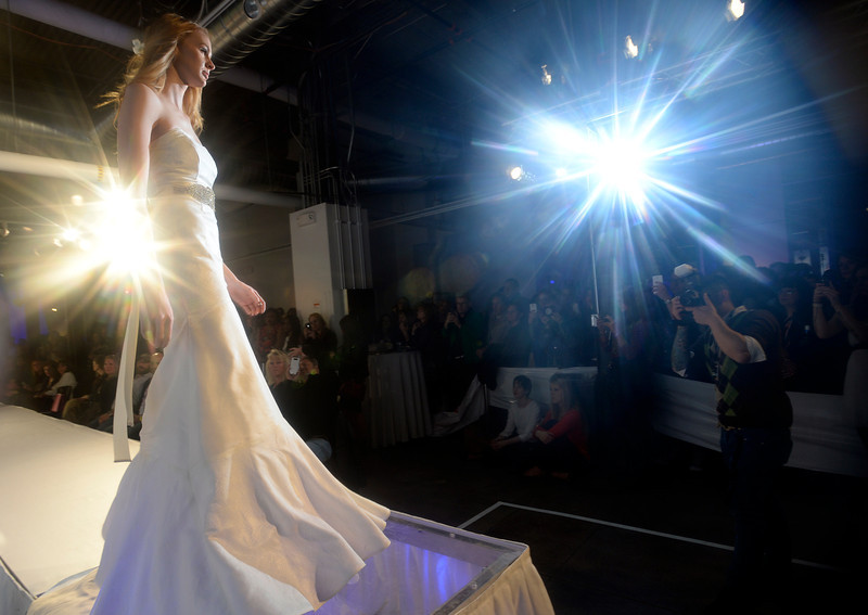 . Wedding fashion from D\'Lola Couture  at the second annual Westword Whiteout Fashion Show at the McNichols Building in Denver feature Denver designers on Thursday, January 30, 2014.  (Denver Post Photo by Cyrus McCrimmon)