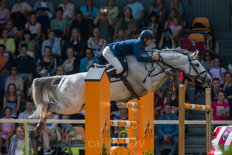 Girts BRICIS (LAT) with the horse CARLORD, World Cup competition, Grand Prix Riga, CSI2*-W, CSIYH1* - Riga 2016, Latvia