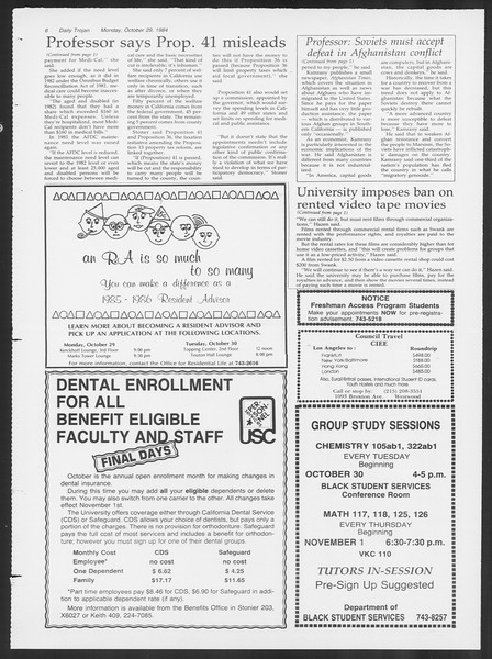 Daily Trojan, Vol. 97, No. 40, October 29, 1984