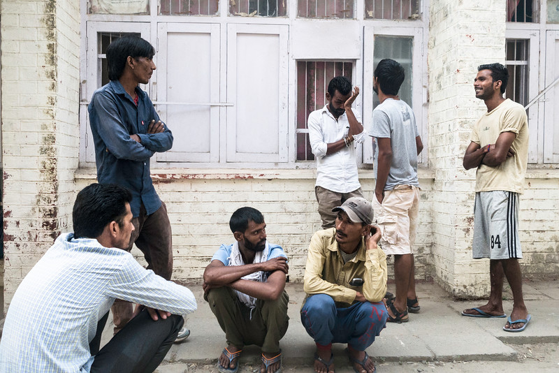 Men waiting in front of  Opioid Substitution Treatment (OST) center, Amritsar